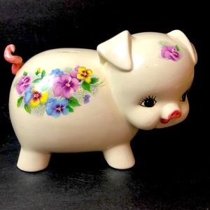 Vtg Ceramic FLORAL Piggy Bank Nursery BOHO Pig